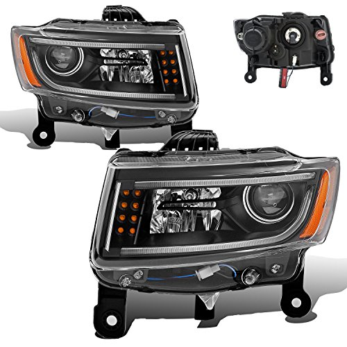 (SPPC Black Projector Plank Style Headlights For Jeep Grand Cherokee - (Pair))