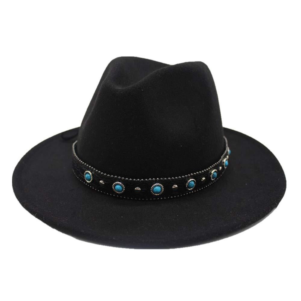 Black YhuisenHat, 2019 Fashion Men Women Fedora Hat Wool Wide Belt bluee Stone Decorative Rivet Punk Wind Fedora Winter