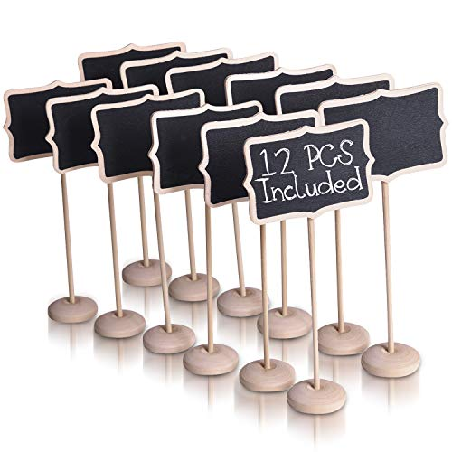 (Ideas In Life Mini Chalkboard Signs for Food with Stand - Set of 12 Mini Chalkboards Blackboard Food Labels for Party)