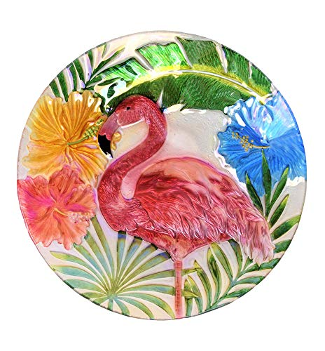 (Continental Art Center Inc. CAC3605861 18'' Holographic Painted Flamingo with Tropical Flowers Glass Bird Bath/Feeder, Fountain, Decorative Plate, Red)