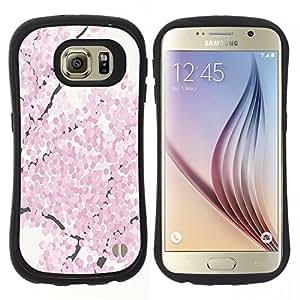 """Hypernova Slim Fit Dual Barniz Protector Caso Case Funda Para Samsung Galaxy S6 [Flor de cerezo de la acuarela primavera Pétalo""""]"""