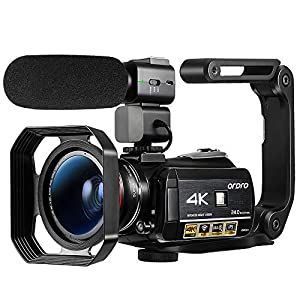 """Flashandfocus.com 51xuy2vzyyL._SS300_ Ordro AC3 4K Camcorder Ultra HD Video Camera 30X Digital Zoom,1080P 60FPS,3.1""""IPS Touch Screen,IR Night Vision,APP Connection for YouTube Vlogging with Microphone,Wide Angle Lens, Lens Hood,Stabilizer"""