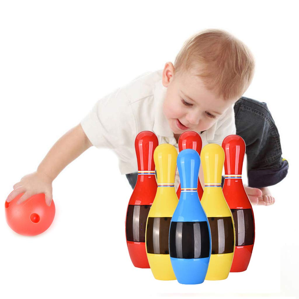 Ama-store Bowling Pins Ball Toys Small Plastics Bowling Set Fun Indoor Game with 6 Mini Pins and 1 Balls, Educational Toy Great Gift for Baby Kids Toddlers Boys Girls, 9Pcs by Ama-store