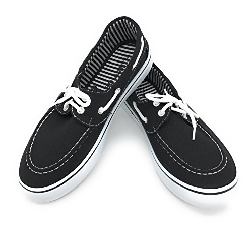 Shoe Blue Women Berry Black Oxford Easy21 Lace Round Flat Boat Canvas Toe Up Sneaker rx7xwq
