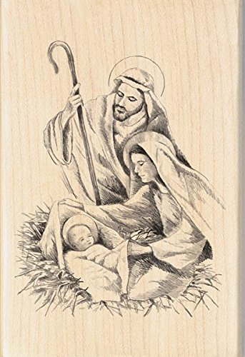 Inkadinkado Holy Manger Nativity Scene Wood Stamp for Card Decorating and Scrapbooking, 2.75'' W x 4'' L