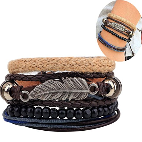 Hsumonre Multi-layer Leather Bracelet Vintage Bohemian Wood Waxed Cord Bangle Beaded Wristbands Cuff Bracelet For Men Women (Color 2) (Designer Wood Jewelry)