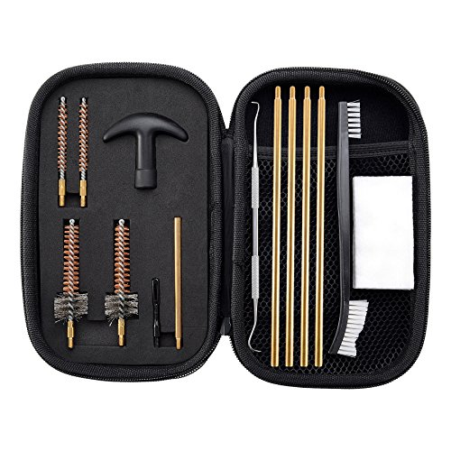 Pro Cleaning Kit (Pro .223/5.56 AR15/M16/M4 Rifle Gun Cleaning Kit with Bore Chamber Brushes Cleaning Pick Kit, Brass Cleaning Rod in Zippered Organizer Compact Case by BOOSTEADY)