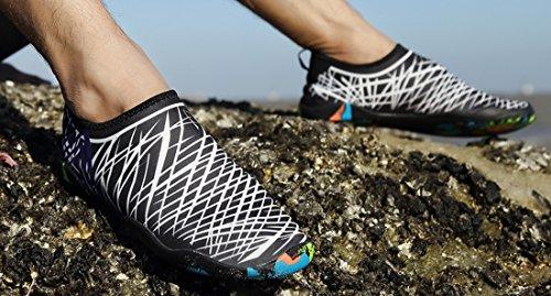 Sanyge Mens Womens Wasser Schuhe Beach Swim Schuhe Quick-Dry Aqua Socken Pool Schuhe für Surf Yoga Übung Schwarz-Weiß0688