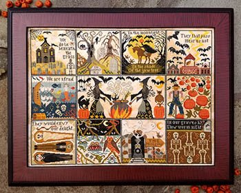 Halloween at Hawk Run Hollow Cross Stitch Chart and Two Free Halloween Embellishments by Carriage House Samplings