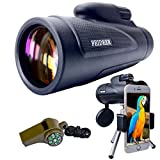 FEIDEER 12x50 Monocular Telescope High-powered HD BAK4 FMC Prism Waterproof Fogproof Shockproof Monoscope With Smartphone Holder and Tripod Low Light Night Vision For Concert Camping Bird watching Etc