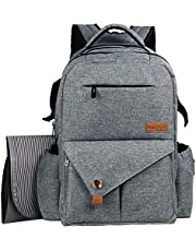 Hap Tim Diaper Bag Backpack Multifunction Water Resistant Upgraded Baby Travel Backpacks with Changing Pad, Stroller Straps for Mom/Dad (SG-5284H3-Grey)