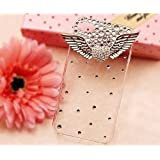 SODIAL(TM) 3D Bling Crystal Angel Wings Transparent Case, Cover for Apple Iphone4, 4g and 4s