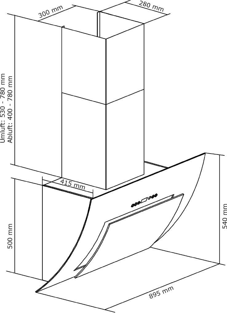 Dunstabzugshaube Kopffreihaube Wandhaube Merkur 90 cm Edelstahl//Schwarzglas Leistungsstarker Motor mit Fettauffangschale