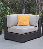 Serta Outdoor Collection Armless Corner Chair with Thick 6 Inch Cushions, Beige/Dark Brown