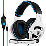 SADES SA810 Stereo Gaming Headset for PS4, PC, Xbox One Controller, Noise Isolating Over Ear Headphones with Microphone, Bass Surround, Soft Memory Earmuffs for Laptop Mac Nintendo Switch Games