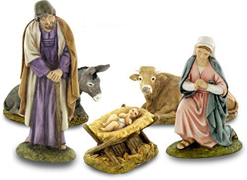 Ferrari & Arrighetti, 2410NA00, Figurines pour Crèche: Nativité de 5 pièces, Résine, Ligne Martino Landi de 10 cm