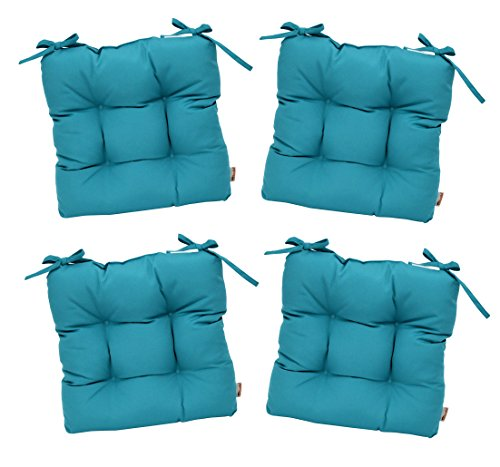 RSH D cor Set of 4 – Indoor Outdoor Sunbrella Canvas Aruba Blue Green Turquoise Aqua Tufted Seat Cushions with Ties for Dining Patio Chairs – Choose Size 18.5 x 17