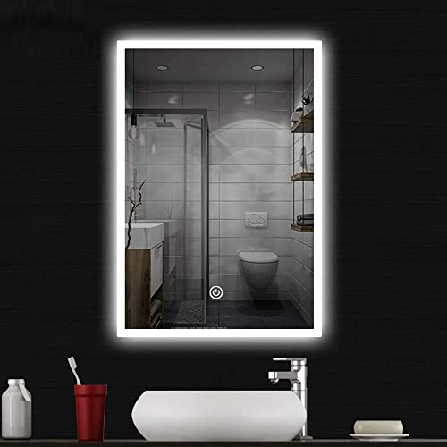 COCOFLY Wall Mounted Bathroom Mirror, LED Lighted Makeup Vanity Mirror with Touch Sensor and Dimmable Light 28 x 20 Inch