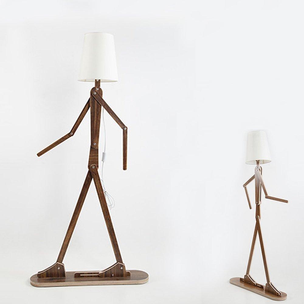 GOLDENCONN Wooden Original 1.6m Ffloor Lamp Room Standing Light Variety Character Modeling Shade Linen White Modern Cool for Bedroom Living Room (Dark Brown)
