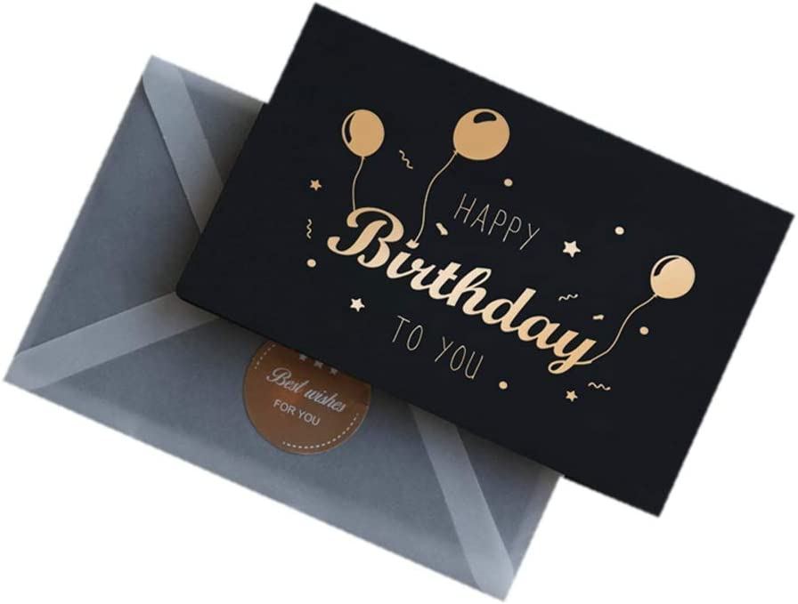 """Birthday Card - Single Happy Birthday Greeting Card with Gold Foil Stars and Lettering on Textured Black Paper with Envelope and Sticker - 5"""" x 3"""" - Blank Inside (Birthday Balloon)"""