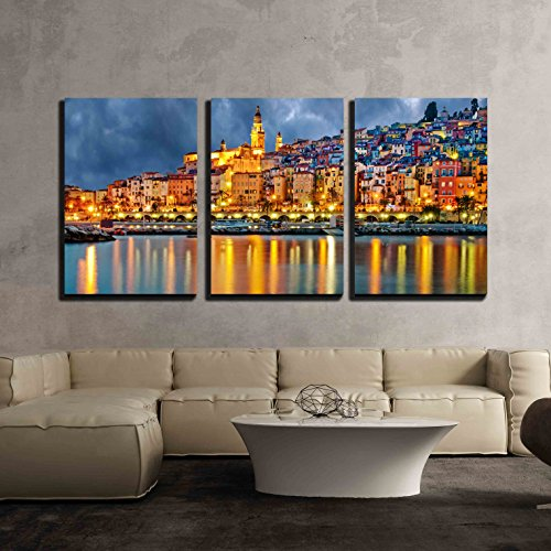 wall26 - 3 Piece Canvas Wall Art - Provence Village Menton after Sunset - Modern Home Decor Stretched and Framed Ready to Hang - 16