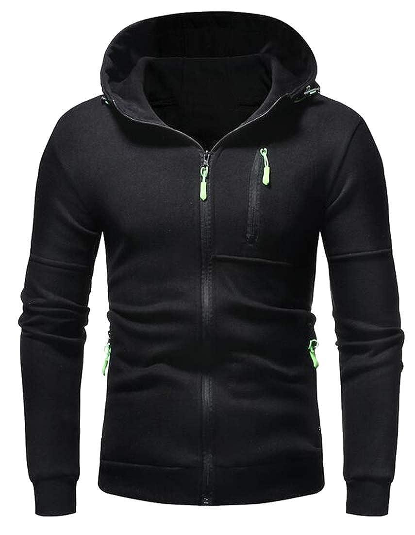 OTW Mens Zip Trim Hooded Bodybuilding Solid Slim Hooded Sweatshirts Jacket Coat