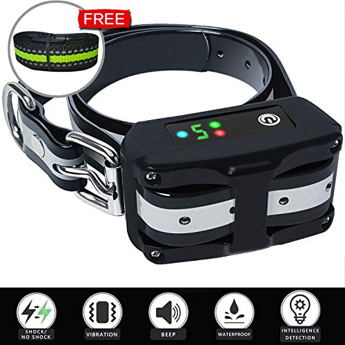 Dog Bark Collar Upgraded 2019 – Rechargeable Anti Barking Smart Collar – Beep Vibration Shock Not Shock Detection – Bark Collars Stop Barking for Small Medium Large Dog