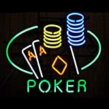 Poker Double Aces Neon Sign 17''x14''Inches Bright Neon Light for Store Beer Bar Pub Garage Room