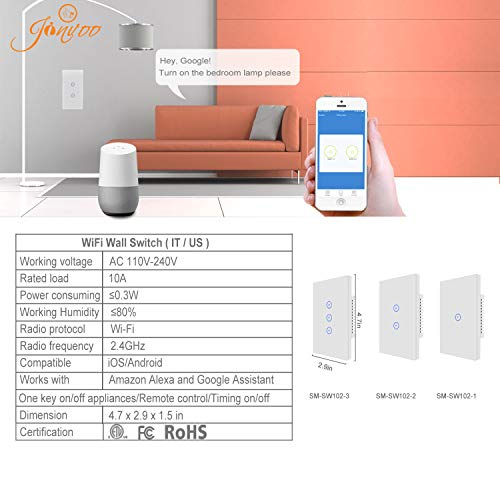 Jinvoo WiFi Wall Light Touch Panel Switch, Remote Control with