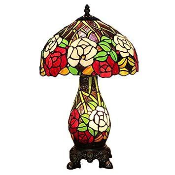 Amazon.com: Mesita de noche (30,5 cm Rose Estilo Tiffany ...