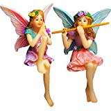 Mood Lab Fairy Garden - Fairy Figurines - Miniature Garden Fairies - Sitting Girls Set of 2 pcs - Kit Outdoor House Decor