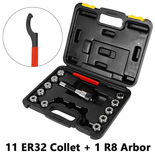 """TFCFL Metal 6.3"""" Precision R8-ER32 Collets Chuck + 11x ER32 SpringCollets Set W/Wrench Workholding Toolholding CNC Metalworking Manufacturing"""