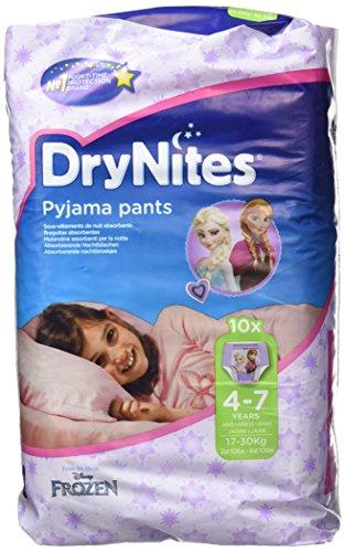 Huggies Pannolini assorbenti notturni DryNites per bagnare il letto, per ragazze 4-7 anni (17-30 kg), 3 x 10 = 30… 1