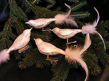 Christbaumschmuck 4 Vogel Mit Echter Feder Eislack Weiss