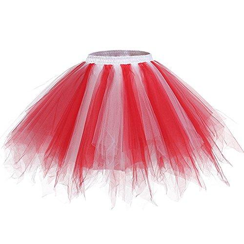 Damen Kurze Unterkleid Petticoat Rock Ballett Bubble Tutu Unregelmäßig Mehrfarbige Pettiskirt Multi-Schichten Abendkleid Mehrfarbig B 3TM4kYVW