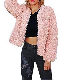 Limsea Women Coat Jacket 2018 Warm Short Faux Fur Solid Open Front