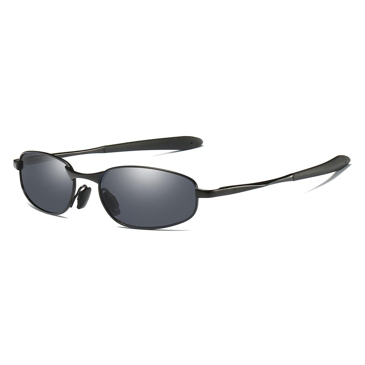 Polarized Sunglasses Small Size Rectangular Wrap Metal Frame UV400 Protection (Black, 53)