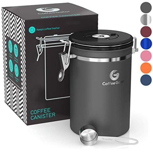 Coffee Gator Stainless Steel Container - Fresher Beans and Grounds for Longer - Canister with Date Tracker, CO2-Release Valve and Measuring Scoop - Large - Gray
