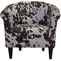 Classic Liam Barrel Chair With Fun Cow Print Design, Padded Seat For Extra Comfort In (Cowboy Brown)
