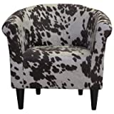 Cheap Classic Liam Barrel Chair With Fun Cow Print Design, Padded Seat For Extra Comfort In (Cowboy Brown)