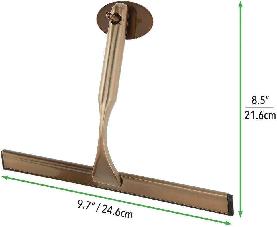 color bronce mDesign Rasqueta limpia cristales para ba/ño Pr/áctico accesorio para limpiar mamparas de ducha o ventanas Limpiavidrios de metal y pl/ástico con gancho autoadhesivo para colgar