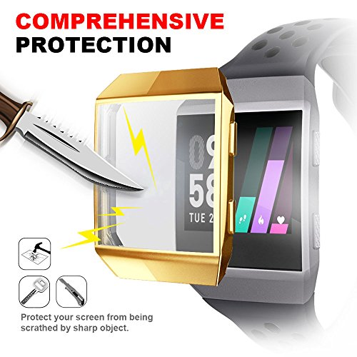 Fitbit Ionic Screen Protector Case, iHYQ TPU All-Around Protective Case Ultra-Thin Cover for Fitbit Ionic Smart Watch (Gold)