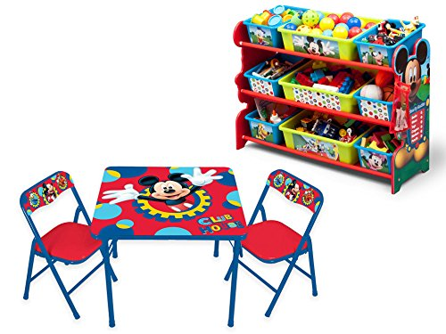 Disney Mickey Mouse Activity/Play Table and Chairs Set and Disney Mickey Mouse 9-Bin Toy Organizer/Storage, (Deluxe Spiderman 2 Kids Costume Gloves)