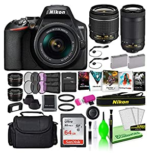 Nikon D3500 24.2MP DSLR Digital Camera with 18-55mm and 70-300mm Lenses (1588) USA Model Deluxe Bundle -Includes…