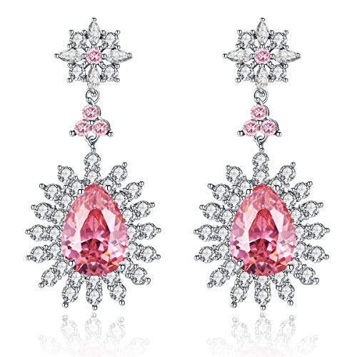 (Me&Hz Baby Pink Crystal Earrings Dangle Tear-Drop Large Light Pink Diamond Cubic Zircon Stud Cute Flower Bridesmaid Wedding Earrings Gifts)