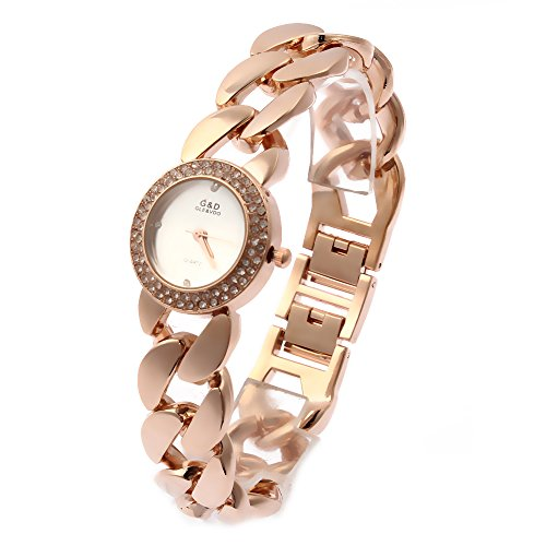 eight Quartz Rose Gold Diamonds Watch for Women Wedding Dating Work (Date President White Gold Oyster)