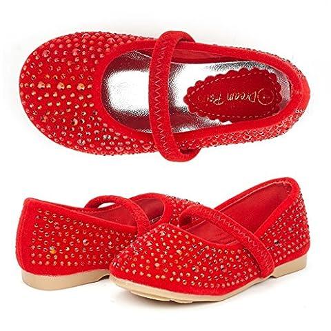 Dream Pairs MUY-SHINE-INF Mary Jane Girls Rhinestone Studded Slip On Ballet Flats Toddler New Red Size 5