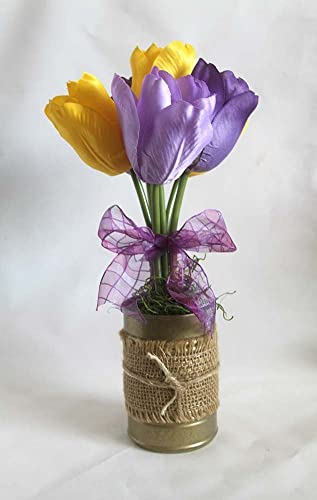 Amazon spring flower arrangement burlap tulips floral spring flower arrangement burlap tulips floral arrangement gift for her easter mightylinksfo