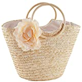 Womens Girls Beach Tote Bag Handmade Original Straw Woven Shoulder Bags Elegant Flower Decor Wood Top Handle Handbag
