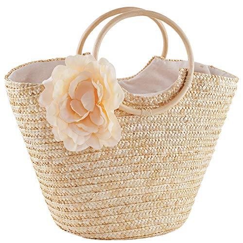 Womens Girls Beach Tote Bag Handmade Original Straw Woven Shoulder Bags Elegant Flower Decor Wood Top Handle Handbag (Tote Bag Handle Braided)
